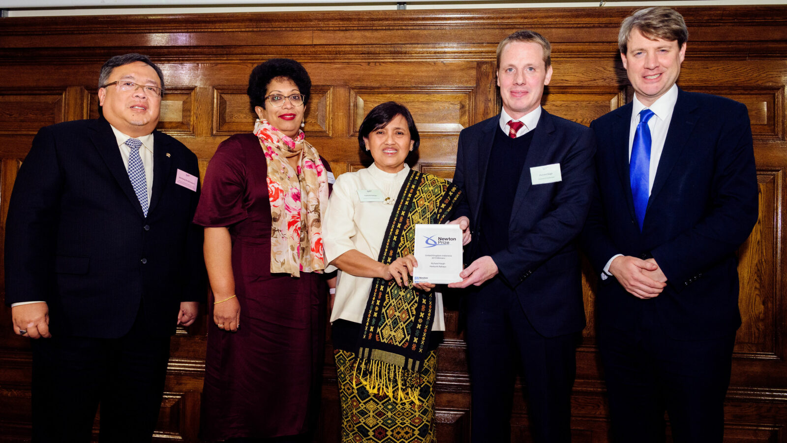 Image of Newton Prize 2019 Indonesia winners on stage at London event