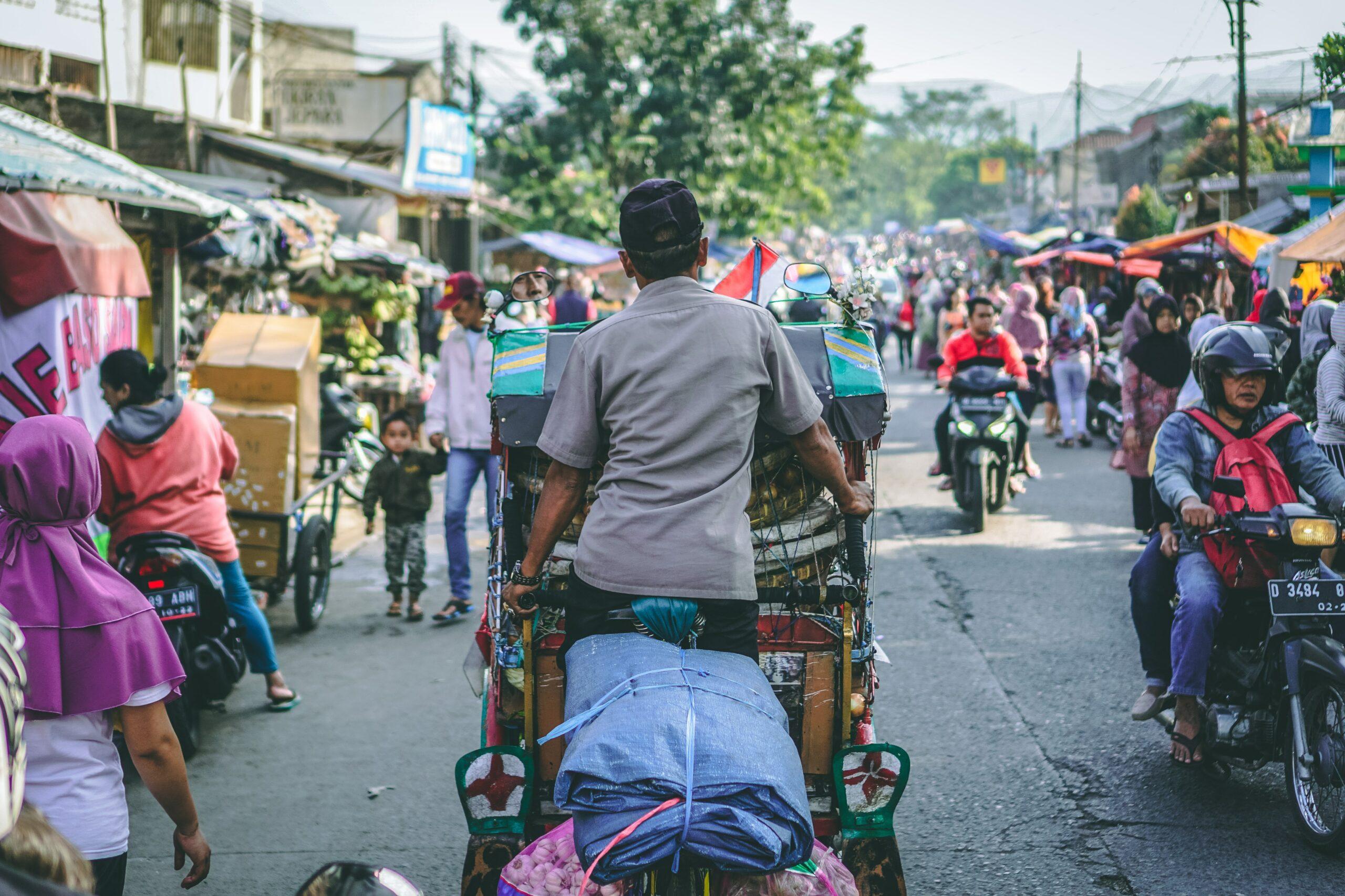 Becak; Indonesia's traditional rickshaw cycle, Bandung City, Indonesia