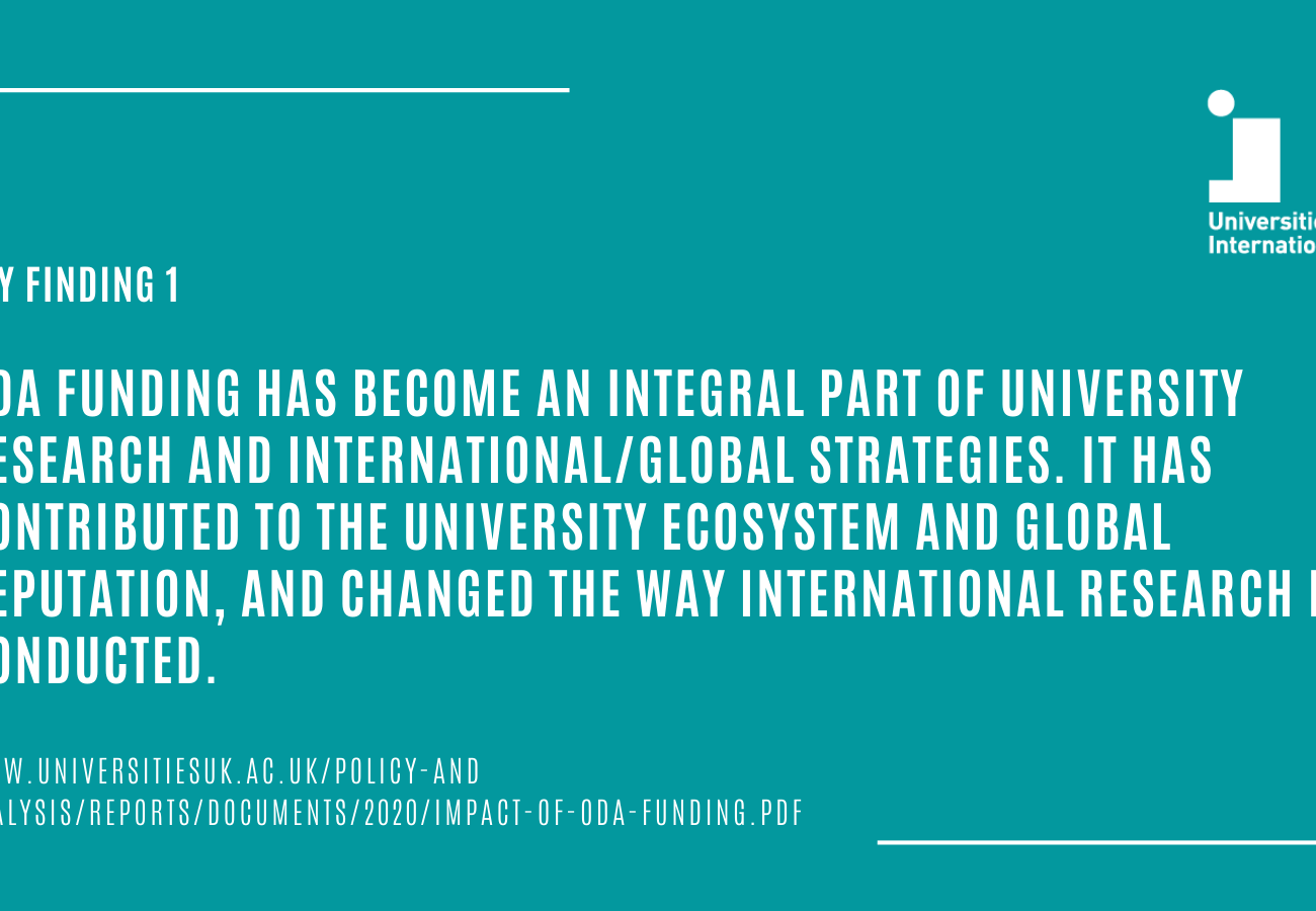 ODA funding has become integral to UK university research and international strategies