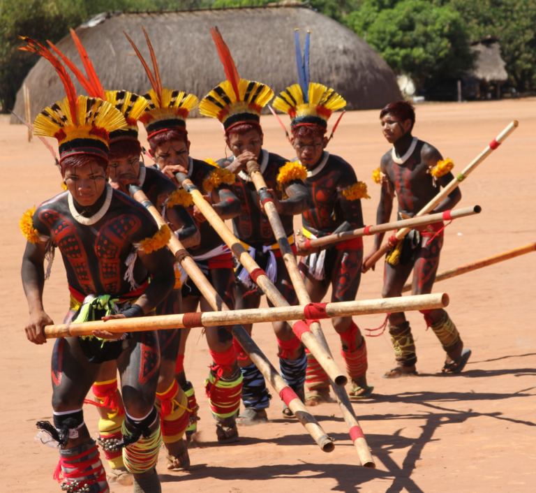 members of the Kuikuro community from the Upper Xingu performing a traditional ritual