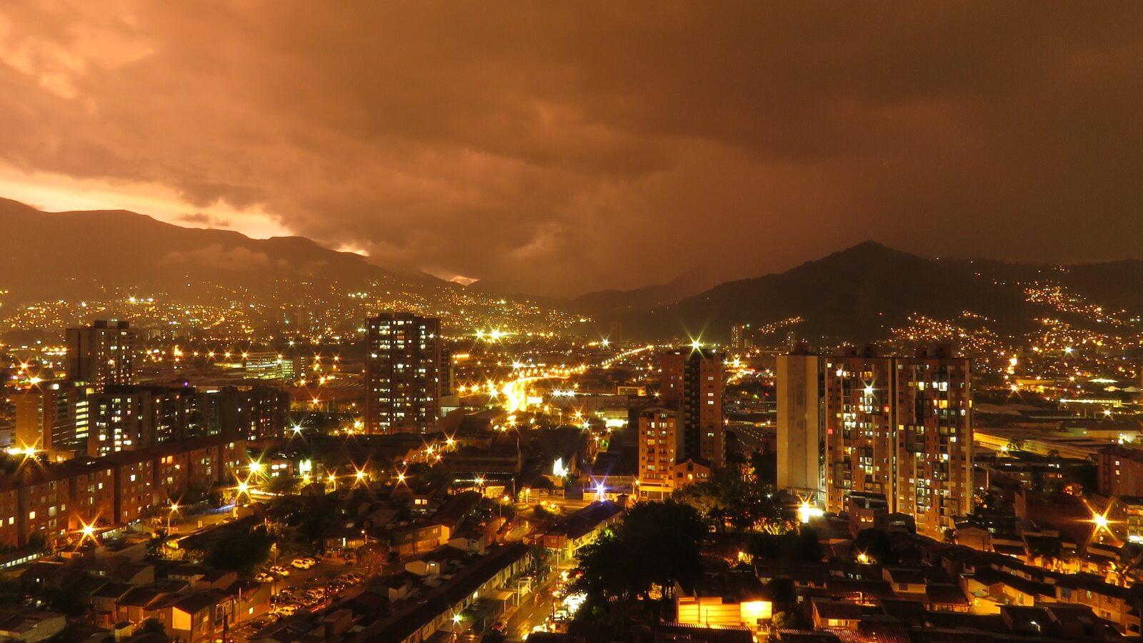 Medellin skyline sunset