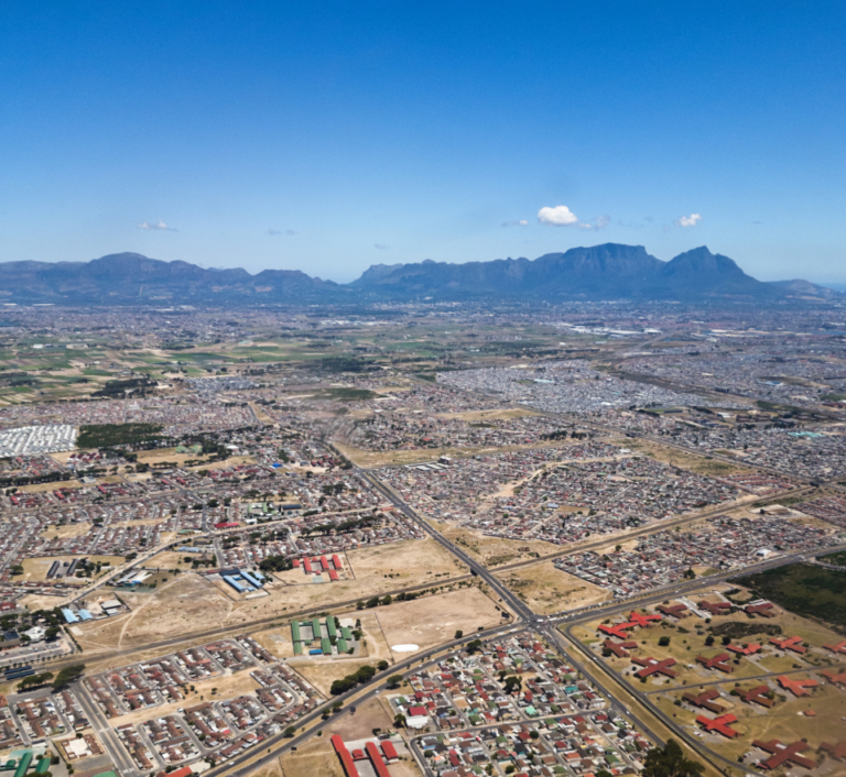 Aerial view of Cape Flats district outside Cape Town, South Africa