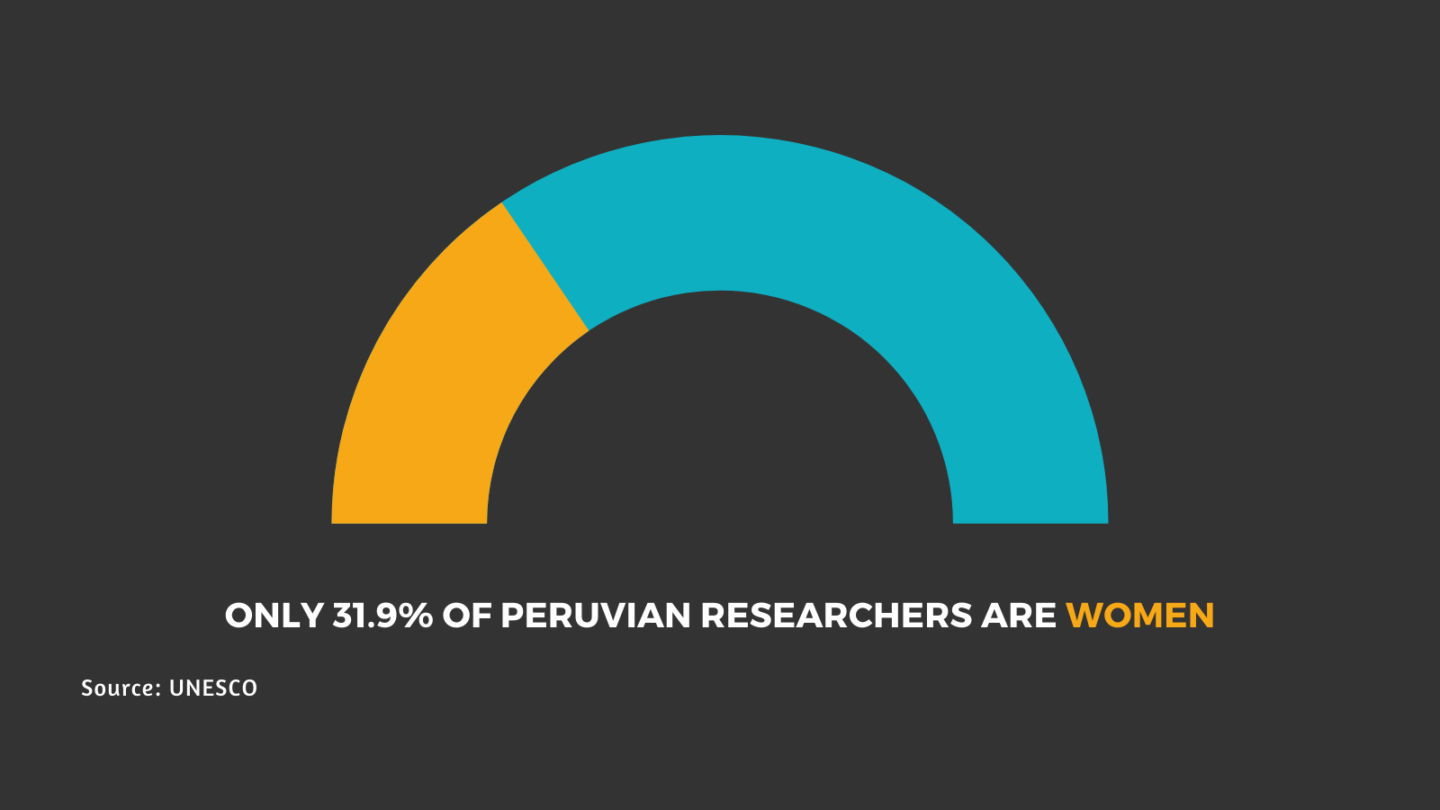 Graphic stating number of Peru women researchers