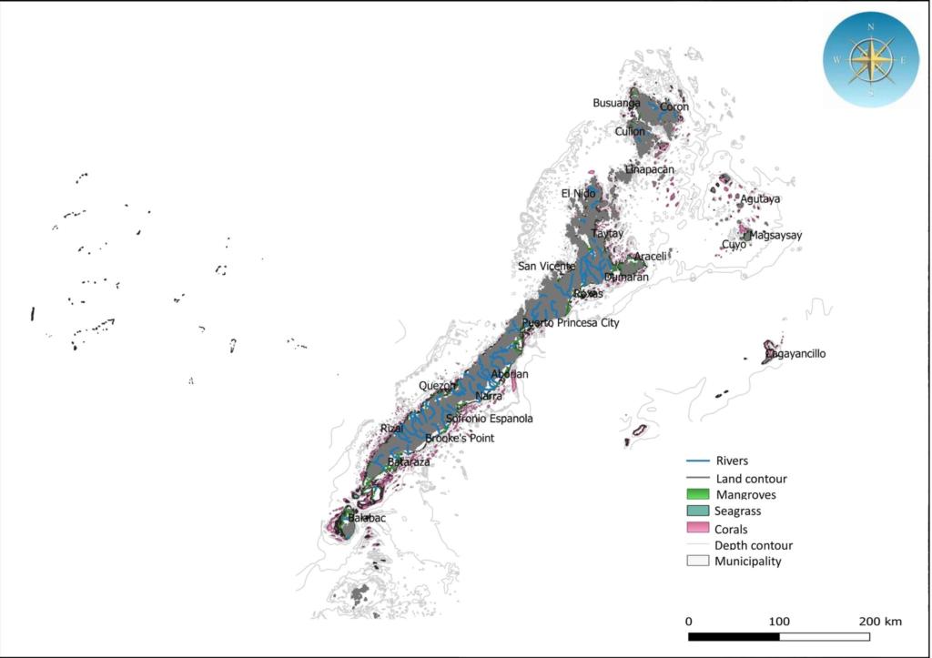 Palawan coastal habitat map